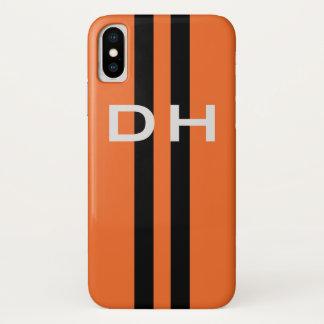 競争は縞で飾ります:  イニシャルを持つオレンジの黒 iPhone X ケース