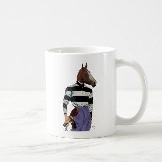 競馬のジョッキーのポートレート コーヒーマグカップ