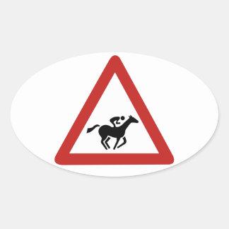 競馬の交差、交通標識、アラブ首長国連邦 楕円形シール