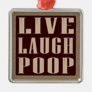 笑いのウンチのユーモアの発言は住んでいます シルバーカラー正方形オーナメント