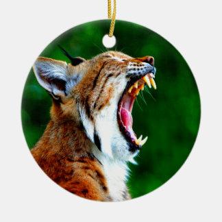 笑いの騒々しいボブキャットのオオヤマネコの山猫 セラミックオーナメント
