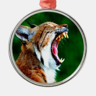 笑いの騒々しいボブキャットのオオヤマネコの山猫 メタルオーナメント