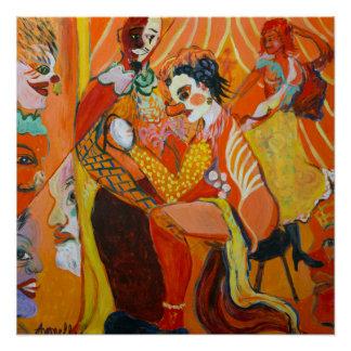 笑い声のファインアートのピエロの絵画 ポスター