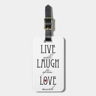 笑い愛シンプルの文字は住んでいます バッグタグ