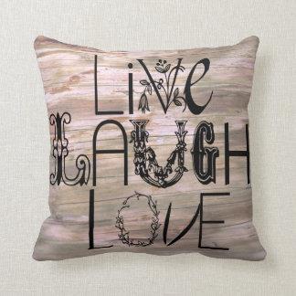 笑い愛素朴な木の印の装飾の枕は住んでいます クッション