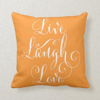 笑い愛装飾用クッション-オレンジ--は住んでいます クッション