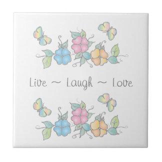 笑い|の蝶花柄の水彩画は住んでいます タイル