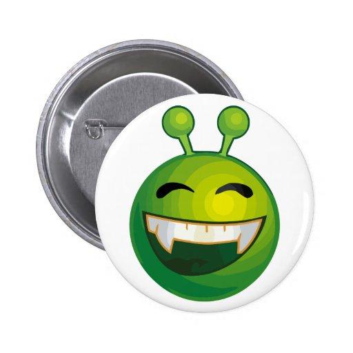 笑うこと|緑|エイリアン 缶バッジピンバック