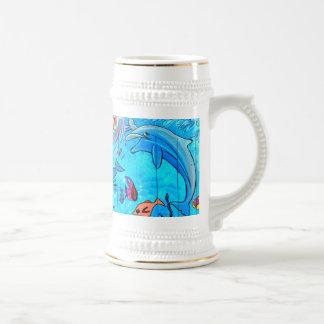 笑うイルカの熱帯魚のジョッキ ビールジョッキ