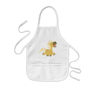 笑う漫画の子馬の料理のエプロン 子供用エプロン