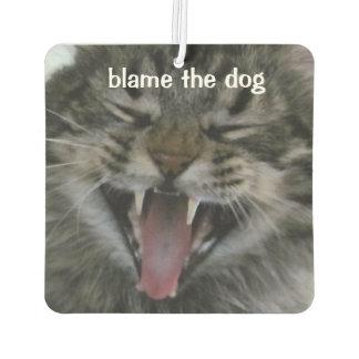 """笑う豊富な猫は言います""""責任犬""""を カーエアーフレッシュナー"""