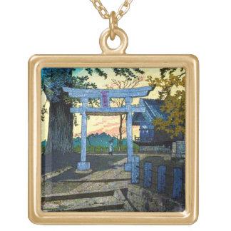 笠松町の夕焼けのSuwaのクールな東洋の神社 ゴールドプレートネックレス