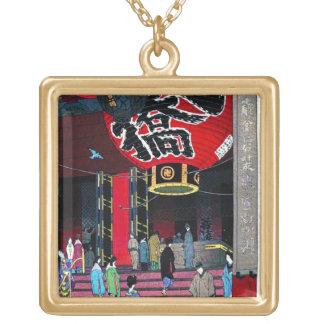 笠松町の大きいランタンのAsakusuのクールな東洋の寺院 ゴールドプレートネックレス