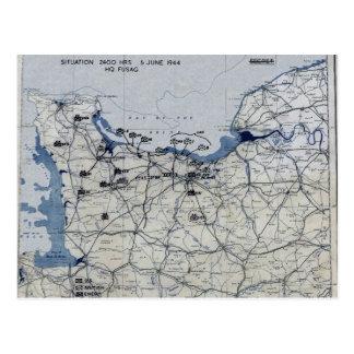 第二次世界大戦の攻撃開始日の地図1944年6月6日 ポストカード