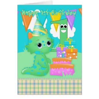 第1ギフトを持つ誕生日のかわいく小さいモンスター カード