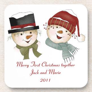 第1クリスマスのカップルのコースター コースター