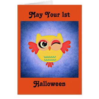 第1ハロウィンのかわいいフクロウ カード