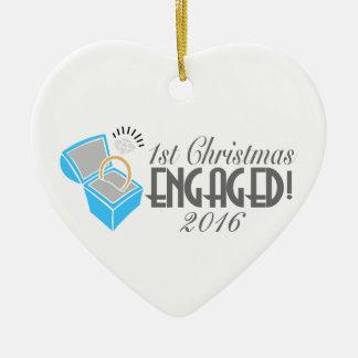 第1日付を記入されるクリスマスの婚約したなオーナメント2016年 セラミックオーナメント