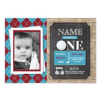 第1最初1 1誕生会の写真の招待をゴルフをして下さい カード