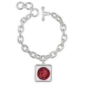 第1根のチャクラの赤い螺線形の生地ペンキ#2 チャームブレスレット