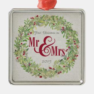 第1氏及びWreath夫人の灰色のとしてクリスマスバーラップ メタルオーナメント