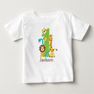 第1誕生日のジャングルのTシャツ ベビーTシャツ