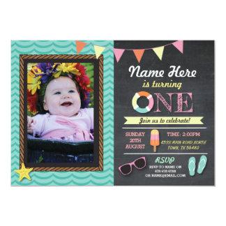 第1誕生日の夏のLollyの水泳の写真のパーティーの招待 カード