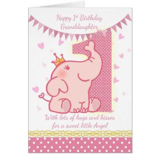 第1誕生日の孫娘、ピンク象カード グリーティングカード