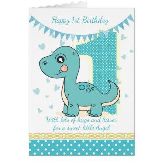 第1誕生日の青い恐竜カード、Babysの第1カード グリーティングカード