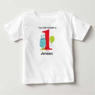 第1誕生日小さいモンスターの青 ベビーTシャツ