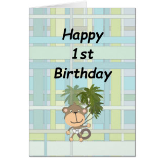 第1青緑の格子縞の誕生日のベビー猿 カード