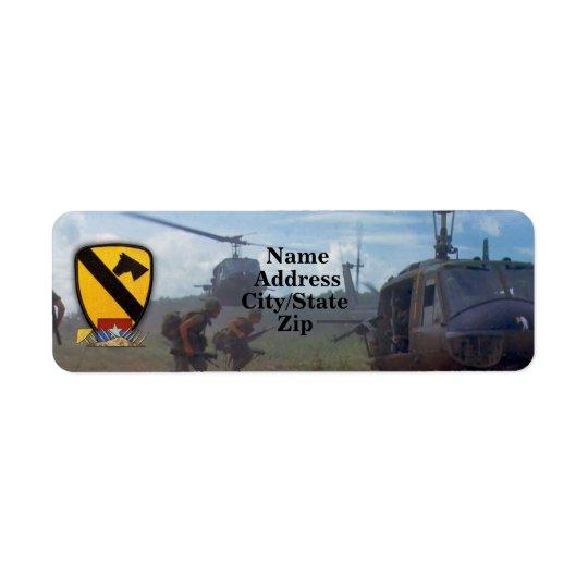 第1騎兵隊はcavのベトナムのnam戦争を乾燥します 返信用宛名ラベル