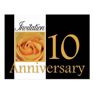 第10記念日のばら色の招待 ポストカード
