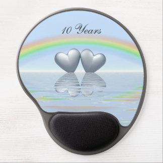 第10記念日の錫のハート ジェルマウスパッド
