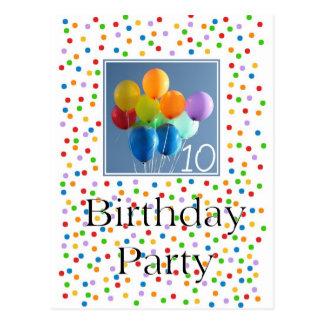 第10誕生会の着色された気球のための招待状 ポストカード