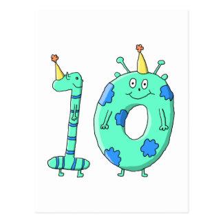 第10誕生日の漫画、ティール(緑がかった色)の緑および青 ポストカード