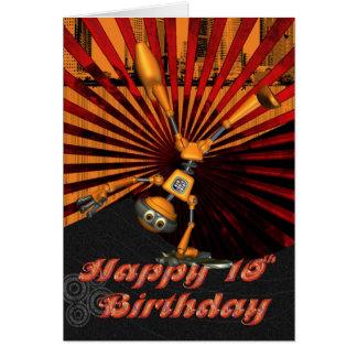 第10誕生日、スケートボードのロボットバースデー・カード カード