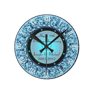 第10銀製の結婚記念日 ラウンド壁時計