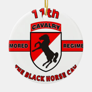 """第11機甲騎兵聯隊""""黒馬CAV """" 陶器製丸型オーナメント"""