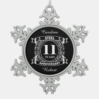 第11結婚記念日の鋼鉄 スノーフレークピューターオーナメント
