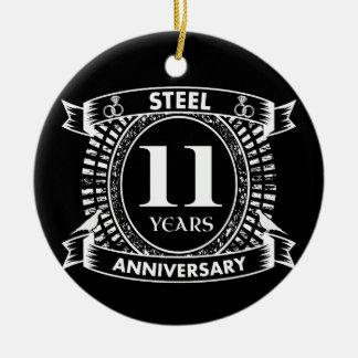 第11結婚記念日の鋼鉄 陶器製丸型オーナメント