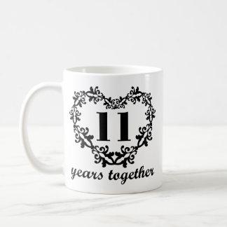 第11記念日マグ一緒の11年のハートのギフトの コーヒーマグカップ