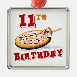第11誕生日ピザパーティー シルバーカラー正方形オーナメント