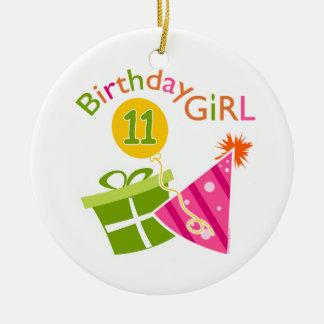 第11誕生日-誕生日の女の子 陶器製丸型オーナメント