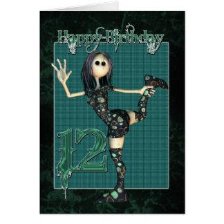 第12 Moonies H.I.Pの縫いぐるみ人形が付いているバースデー・カード カード