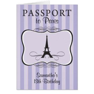 第13誕生日のパリのパスポートの招待状 カード