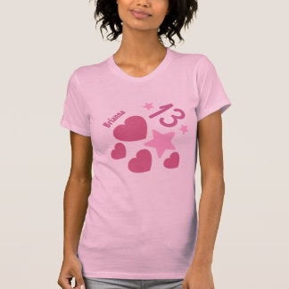 第13誕生日の星およびハートの10代のなV14ピンク Tシャツ