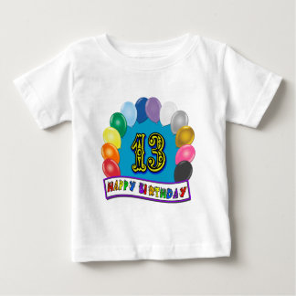 第13誕生日の気球のアーチのTシャツ ベビーTシャツ