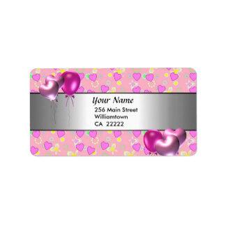 第15誕生会のピンクのハートの宛名ラベル ラベル