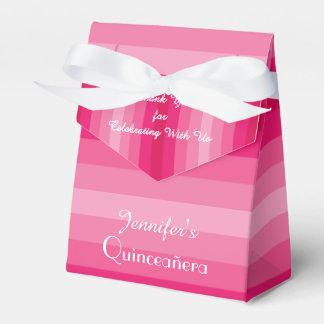 第15誕生日のQuinceañeraの好意箱、ピンクのストライプ フェイバーボックス